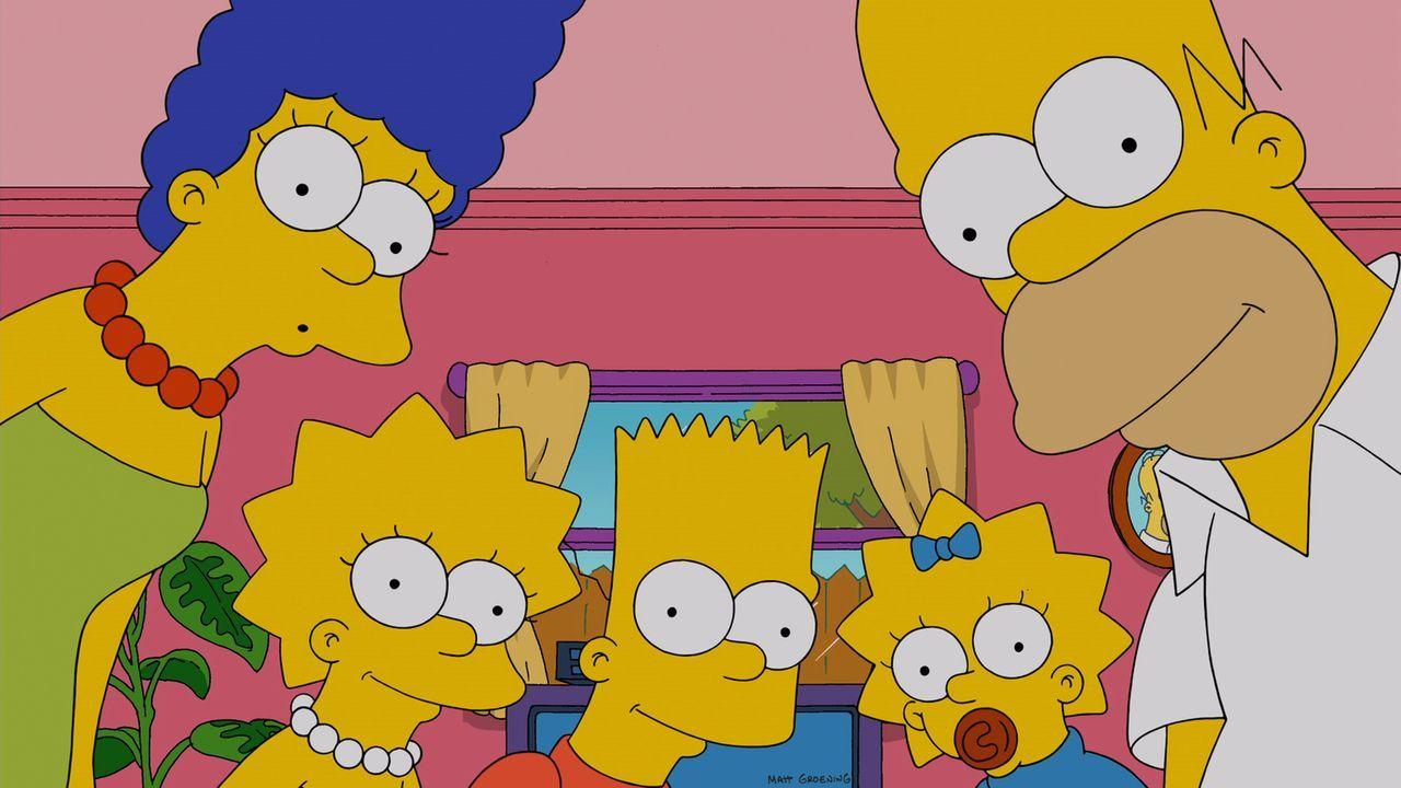 Ahnen nicht, was sie mit dem Kauf einer neuen Couch anrichten: Homer (r.), Marge (l.), Lisa (2.v.l.), Maggie (2.v.r.) und Bart (M.) ... - Bildquelle: und TM Twentieth Century Fox Film Corporation - Alle Rechte vorbehalten