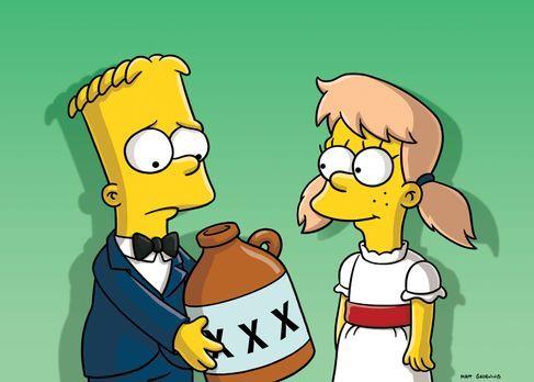 Die Simpsons - Als Marge und Homer von Barts (l.) Verlobung mit Mary (r.) hör...