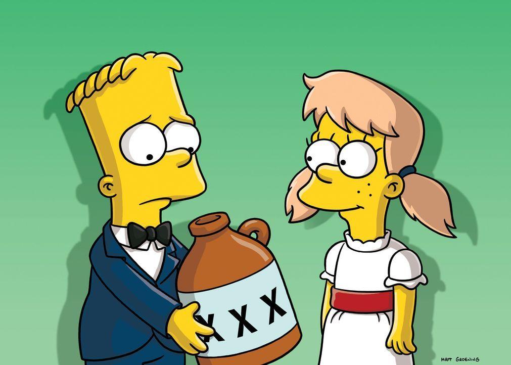 Als Marge und Homer von Barts (l.) Verlobung mit Mary (r.) hören, müssen sie sich was einfallen lassen ... - Bildquelle: und TM Twentieth Century Fox Film Corporation - Alle Rechte vorbehalten