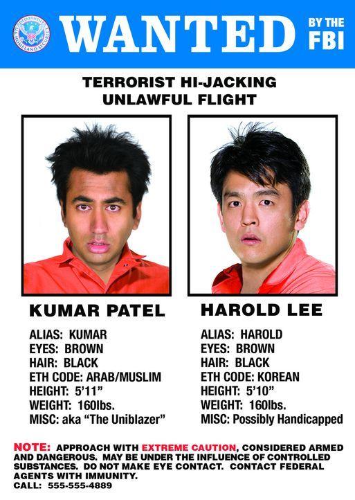 Werden verzweifelt gesucht: die beiden trotteligen Kifferkumpel Harold Lee (John Cho, r.) und Kumar Patel (Kal Penn, l.) ... - Bildquelle: Warner Brothers