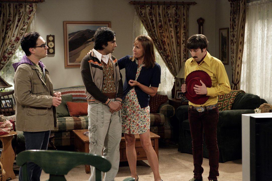 Leonard (Johnny Galecki, l.), Howard (Simon Helberg, r.) und Raj (Kunal Nayyar, 2.v.l.) reisen nach Texas um sich bei Sheldon zu entschuldigen, der... - Bildquelle: Warner Bros. Television