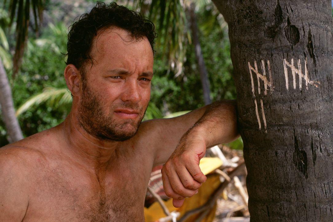 Für den geselligen, hektischen Großstadtmenschen Chuck Noland (Tom Hanks), der anfangs noch auf baldige Rettung hofft, wird die Auseinandersetzung m... - Bildquelle: Francois Duhamel 2001 Twentieth Century Fox Film Corporation and Dreamworks LLC. All rights reserved