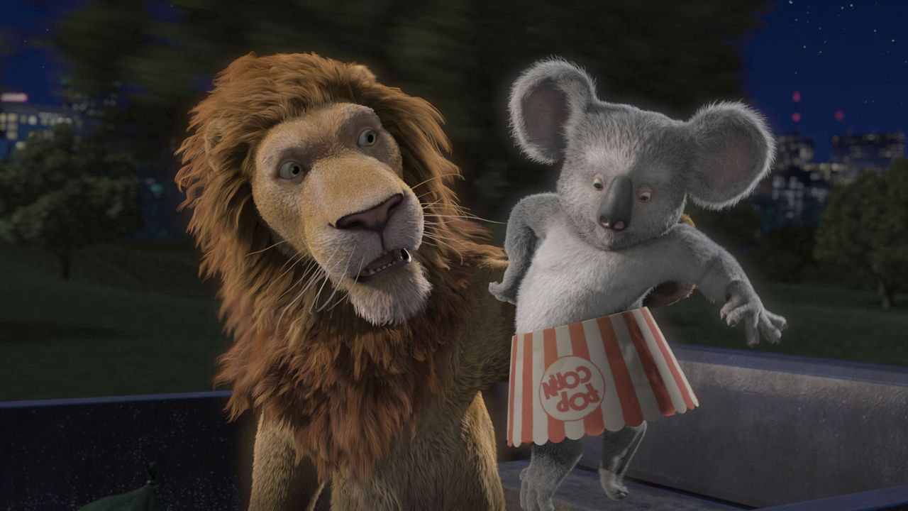 Junglöwe Ryan ist ausgebüchst, da er die Schnauze vom New Yorker Zoo voll hat. Sein Vater Löwe Samson (l.) und seine Freunde Koala Nigel (r.), Giraf... - Bildquelle: Disney Enterprises, Inc.  All rights reserved