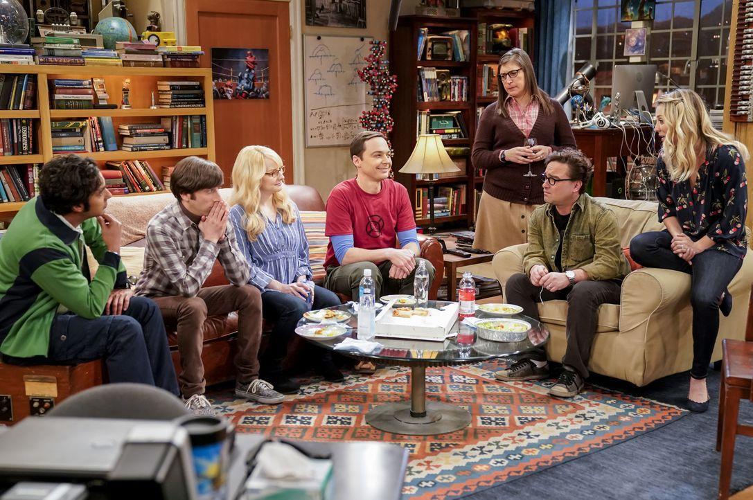 Auf sie wartet eine spannende Zeit: (v.l.n.r.) Raj (Kunal Nayyar); Howard (Simon Helberg), Bernadette (Melissa Rauch), Sheldon (Jim Parsons), Amy (M... - Bildquelle: Warner Bros. Television