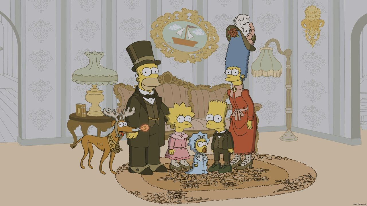 Die Simpsons anno dazumal: Hund Knecht Ruprecht (l.), Homer (2.v.l.), Lisa (3.v.l.), Maggie (3.v.r.), Bart (2.v.r.) und Marge (r.) ... - Bildquelle: 2013 Twentieth Century Fox Film Corporation. All rights reserved.