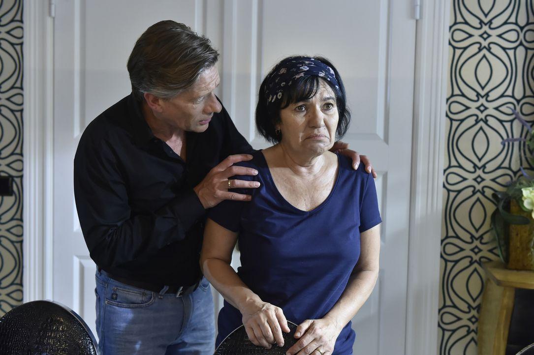 Während Theresa eine Liebeserklärung von ihrer Daueraffäre erhält, versucht Hendrik (Stephan Baumecker, l.) Gül (Özay Fecht, r.) zu trösten, nachdem... - Bildquelle: Claudius Pflug SAT.1