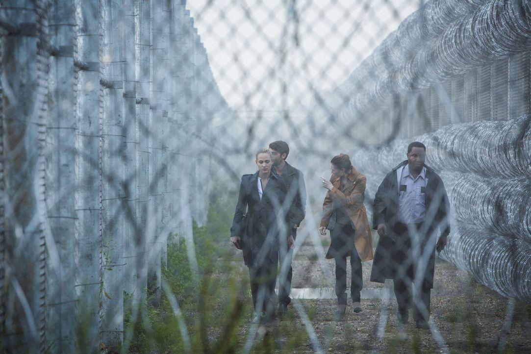 Der Brand im Gefängnis ist nicht das Problem, sondern die Wölfe, die die wenig Überlebenden getötet haben. Sind auf Spurensuche: (v.l.n.r.) Chloe (N... - Bildquelle: Steve Dietl 2015 CBS Broadcasting Inc. All Rights Reserved.