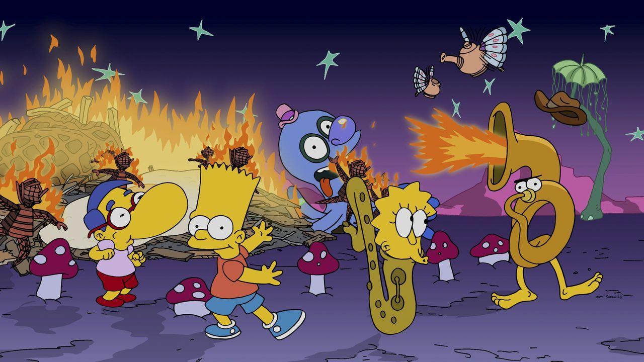 Der Tee, den Marge getrunken hat, lässt sie Milhouse (l.), Bart (M.) und Lisa (r.) mit ganz anderen Augen sehen ... - Bildquelle: 2014 Twentieth Century Fox Film Corporation. All rights reserved.