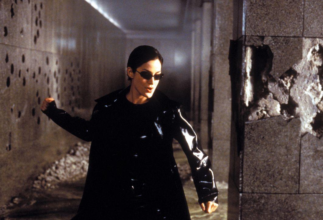 Zusammen mit Neo zerlegt die gefährlich schöne Trinity (Carrie-Anne Moss) die Eingangshalle eines Polizeigebäudes, inklusive Wachpersonal, in seine... - Bildquelle: Warner Bros. Pictures