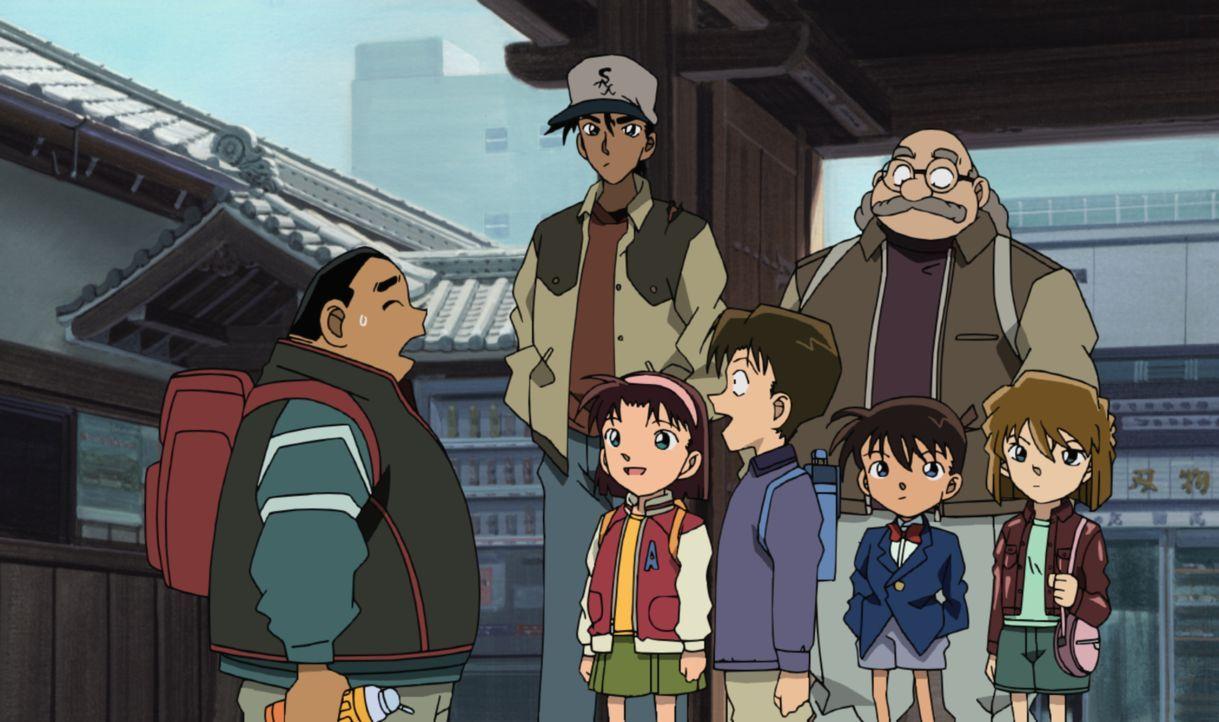 Eigentlich sollte Conan (unten 2.v.r.) in der alten Hauptstadt Kyoto einen acht Jahre zurückliegenden Diebstahl in einem Tempel aufklären, doch plöt... - Bildquelle: 2003 GOSHO AOYAMA / SHOGAKUKAN - YTV - NTV - ShoPro - TOHO - TMS All Rights Reserved.