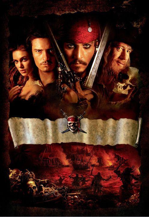 Fluch der Karibik mit (v.l.n.r.) Keira Knightley, Orlando Bloom, Johnny Depp und Geoffrey Rush - Bildquelle: Disney/ Jerry Bruckheimer