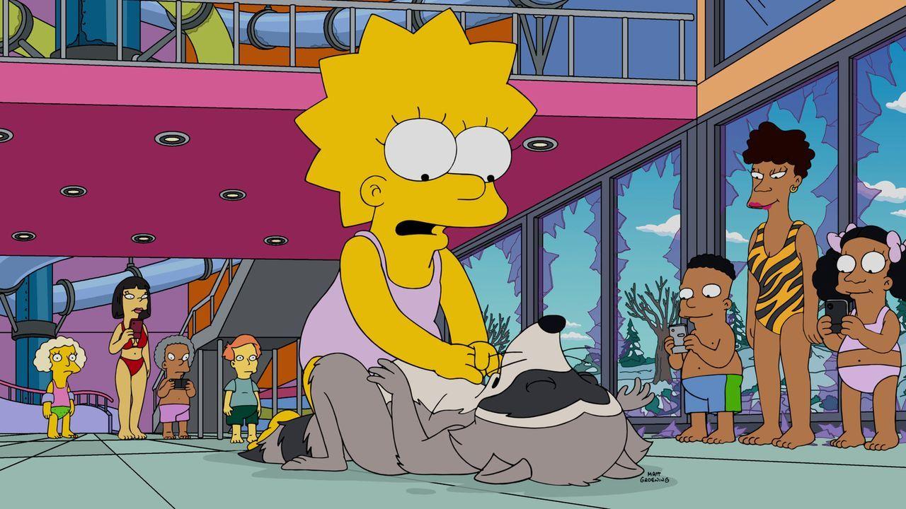 Während eines Ausflugs in einen Wasserpark verirrt sich ein Waschbär in ein Schwimmbecken und gerät in Lebensgefahr. Lisa schafft es, ihm das Leben... - Bildquelle: 2015 Fox and its related entities.  All rights reserved.