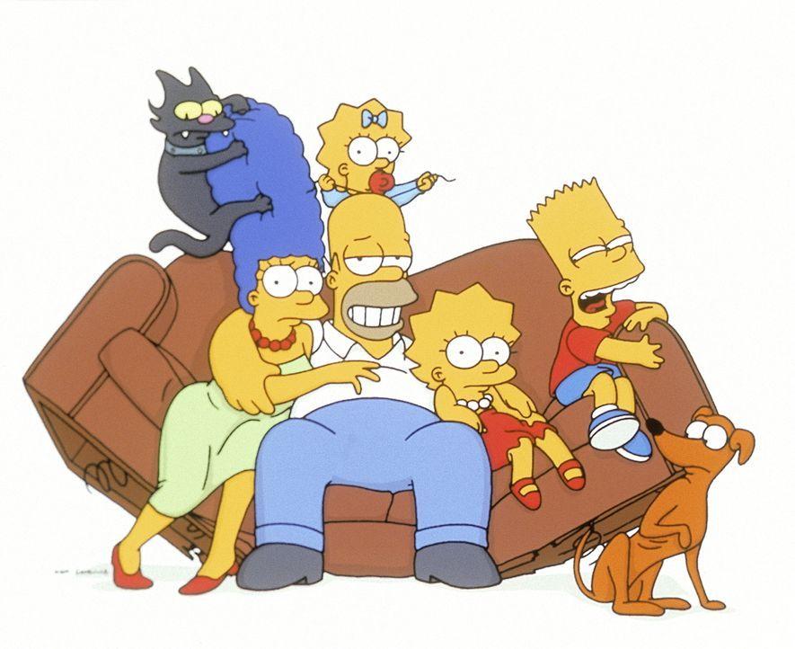 (12. Staffel) - Die chaotische Familie Simpson (v.l.n.r.): Marge, Homer, Lisa, Bart, Maggie (oben). - Bildquelle: und TM Twentieth Century Fox Film Corporation - Alle Rechte vorbehalten