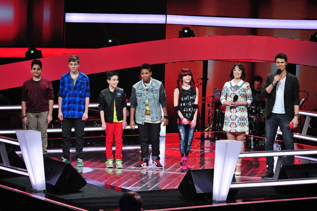The-Voice-Kids-Stf02-Epi07-Carlotta-Jamica-Soufjan-Noah-Joel-1-SAT1-Andre-Kowalski - Bildquelle: SAT.1/Andre Kowalski