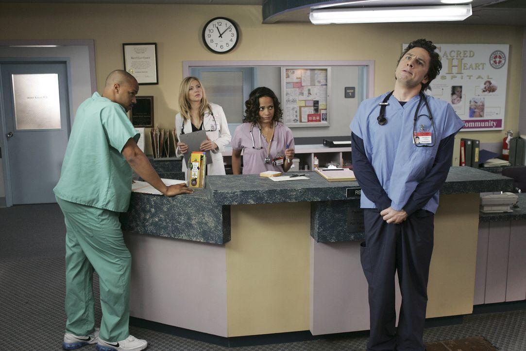 J.D. (Zach Braff, r.) hat einen Durchhänger: Seine Freundin hat ihn verlassen und zu allem Überschuss diagnostiziert Cox bei ihm eine seltene Kreisl... - Bildquelle: Touchstone Television