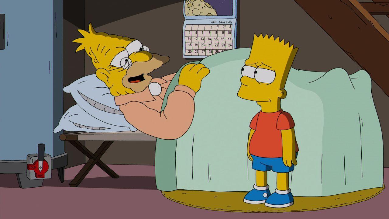 Bart (r.) kümmert sich um Grampa (l.), der bei einem Unfall verletzt wurde. Doch so sehr sich Bart auch bemüht, Grampa will einfach nicht genesen ..... - Bildquelle: und TM Twentieth Century Fox Film Corporation - Alle Rechte vorbehalten