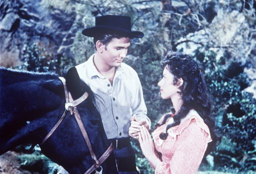 Bonanza - Little Joe (Michael Landon, l.) und die junge Amy Bishop (Adrienne...