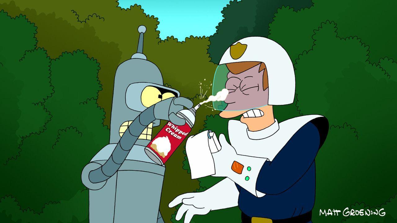 Auch nach dem Abschluss der Polizeiakademie hat Bender (l.) einfach keinen Respekt vor Fry (r.) ... - Bildquelle: 2011 Twentieth Century Fox Film Corporation. All rights reserved.