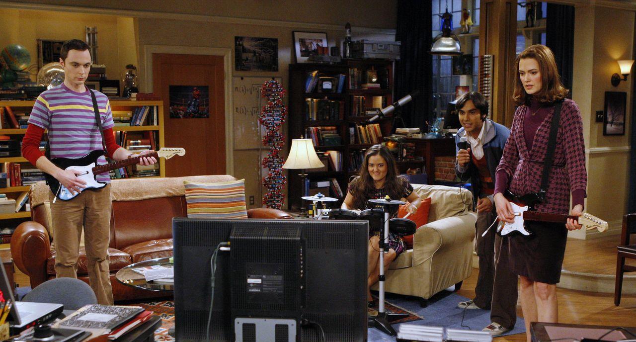 Obwohl Sheldon (Jim Parsons, l.) Raj (Kunal Nayyar, 2.v.r.) in eine peinliche Situation nach der anderen bringt, finden sich zwei nette, attraktive,... - Bildquelle: Warner Bros. Television