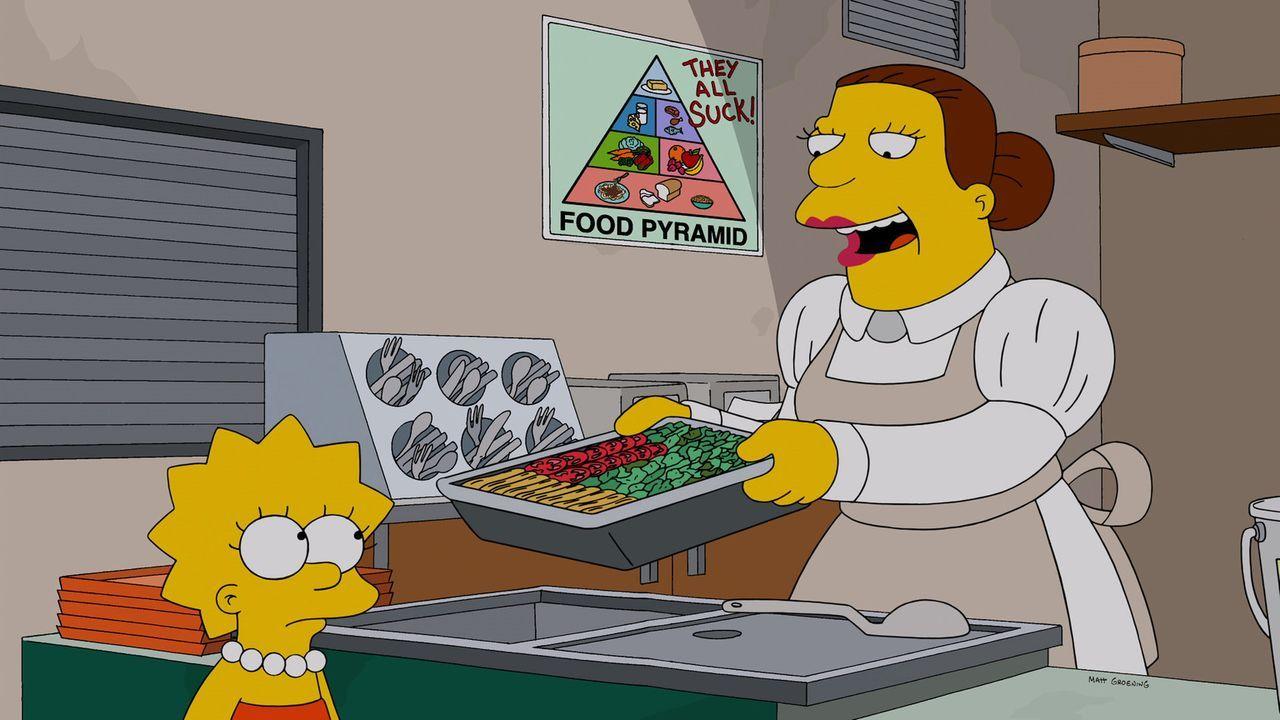 Die schlaue Lisa (l.) hat sich mit gentechnisch veränderten Lebensmitteln beschäftigt und ist dabei zum Schluss gekommen, dass diese gar nicht so sc... - Bildquelle: 2013 Twentieth Century Fox Film Corporation. All rights reserved.