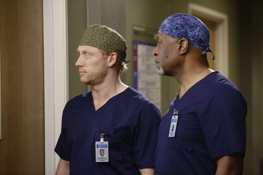 Beobachten Amelia bei der schwierigen Operation von Dr. Herman: Webber (James Pickes Jr., r.) und Owen (Kevin McKidd, l.) ... - Bildquelle: ABC Studios