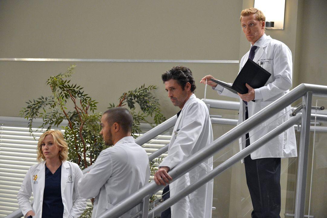 Die neue Anti-Beziehungs-Politik im Krankenhaus sorgt bei Arizona (Jessica Capshaw, l.), Owen (Kevin McKidd, r.), Derek (Patrick Dempsey, 2.v.r.) un... - Bildquelle: ABC Studios