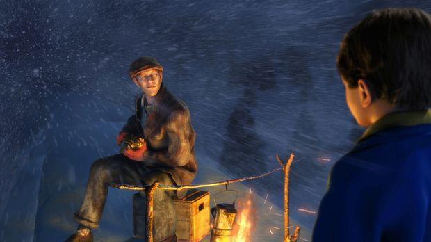 Auf dem Dach vom Polarexpress lernt der kleine Junge einen Mann kennen, der i...