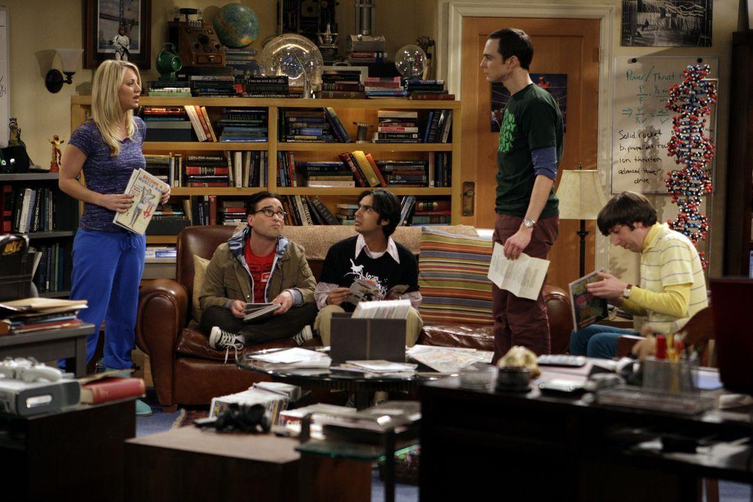 Während sich Leonard (Johnny Galecki, 2.v.l.), Rajesh (Kunal Nayyar, M.) und Howard (Simon Helberg, r.) auf die Autogrammstunde mit Stan Lee freuen... - Bildquelle: Warner Bros. Television