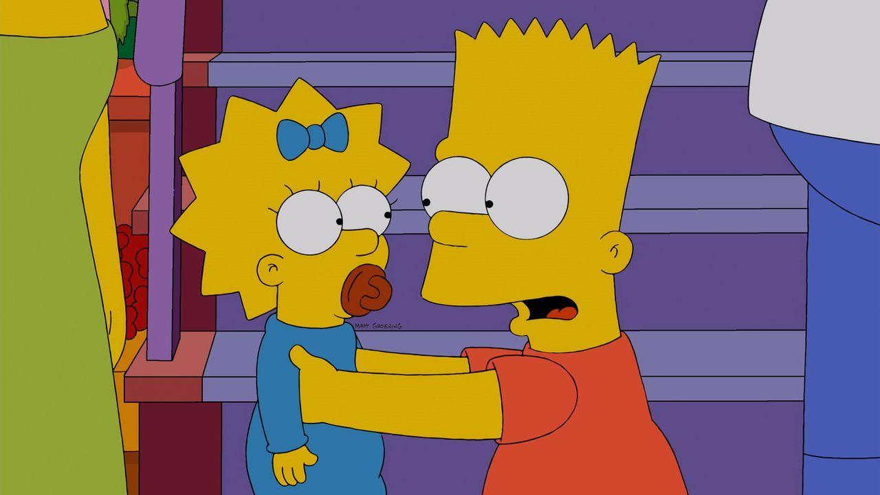 Bart (r.) beteuert Maggie (l.) seine Unschuld - doch wird sie ihm glauben? - Bildquelle: und TM Twentieth Century Fox Film Corporation - Alle Rechte vorbehalten