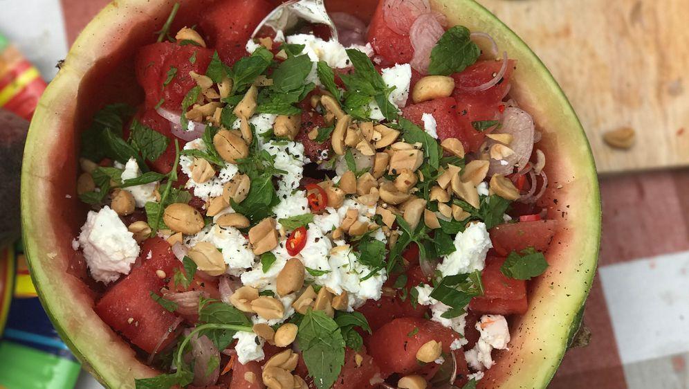 3-Gänge Camping-Menü: Wassermelonensalat