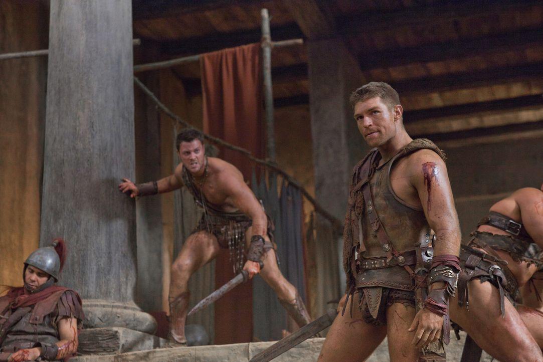 Zunächst können Spartacus (Liam McIntyre, r.), Agron (Daniel Feuerriegel, l.) und die anderen Sklaven die Römer in Schach halten, doch dann überwält... - Bildquelle: 2011 Starz Entertainment, LLC. All rights reserved.