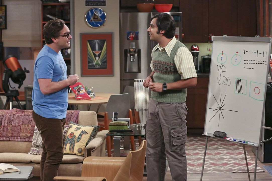 Wie kommen Raj (Kunal Nayyar, r.) und Leonard (johnny Galecki, l.) ohne die Hilfe von Sheldon und Howard bei ihrem Projekt zurecht? - Bildquelle: Warner Bros. Television