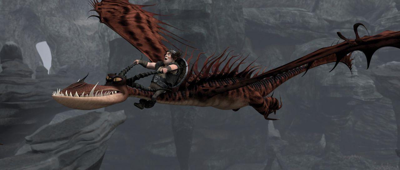 Ein Traum wird wahr: Der Wikingerjunge Rotzbacke fliegt auf einem Wechselflüger, einem der gefährlichsten Drachen der Welt. Zusammen kämpfen sie... - Bildquelle: 2012 by DreamWorks Animation LLC. All rights reserved.