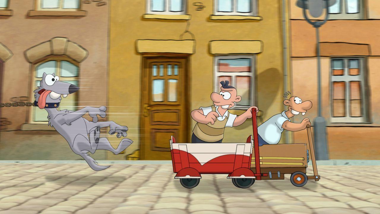 Vom Kinderwagen in den Bollerwagen - und der Wettstreit geht weiter: Werner (r.) und Holgi (l.) ... - Bildquelle: 2011 Constantin Film Verleih GmbH