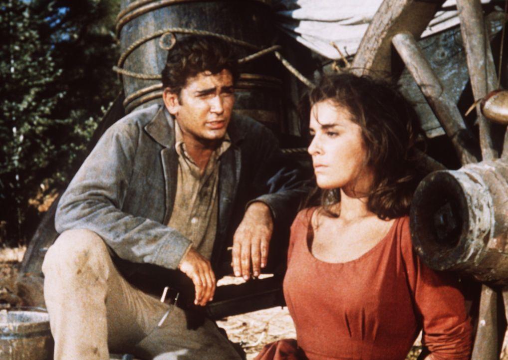 Little Joe Cartwright (Michael Landon, l.) versucht, Willow (Anita Sands, r.) zu erklären, dass er ihren Vater in Notwehr erschossen hat. - Bildquelle: Paramount Pictures