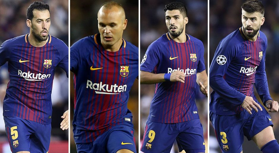 Platz 13 (geteilt): Sergio Busquets, Andres Iniesta, Luis Suarez und Gerard Pique (v. li.) - Bildquelle: imago
