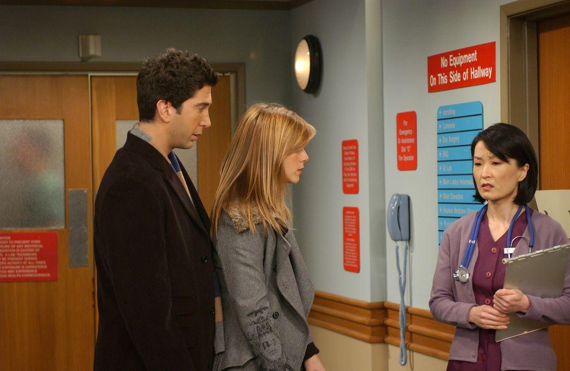 Rachel (Jennifer Aniston, M.) und Ross (David Schwimmer, l.) erhoffen sich von der Krankenschwester (Hira Ambrosino, r.) Auskunft über den gesundhei... - Bildquelle: 2003 Warner Brothers International Television