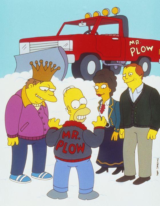 Es liegt Schnee in Springfield, und Barney (l.) und Homer (2.v.l.) sind beide im Besitz eines Schneepflugs. Linda Ronstadt (2.v.r.) und ein Manager... - Bildquelle: und TM Twenthieth Century Fox Film Corporation - Alle Rechte vorbehalten