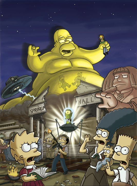 Ein Meteorit ist in den Garten der Simpsons. Aus ihm entweicht eine grüne Masse, die Homer für einen Weltraum-Marshmallow hält und sie deshalb is... - Bildquelle: 2007FOX BROADCASTING