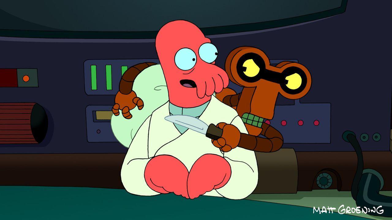 Der Roboterverbrecher Hubertus (r.) bedroht Zoidberg (l.) - und bringt damit Fry auf eine gute Karriereidee ... - Bildquelle: 2011 Twentieth Century Fox Film Corporation. All rights reserved.