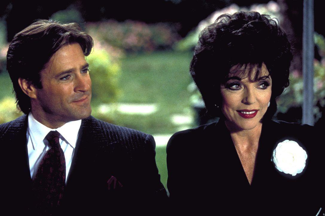 Camilla Ashley (Joan Collins, r.) ist blind vor Liebe zu ihrem neuen Ehemann Ronny (Jeff Kaake, l.), der es mit seinen Gefühlen keineswegs ernst mei... - Bildquelle: Columbia Pictures