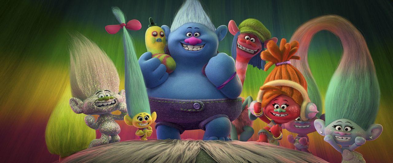 (v.l.n.r.) Wuschel; Guy Diamond; Smidge; Biggie mit Herrn Dinkles; Cooper; DJ Suki; Satin & Seide - Bildquelle: 2016 DreamWorks Animation, L.L.C.  All rights reserved.