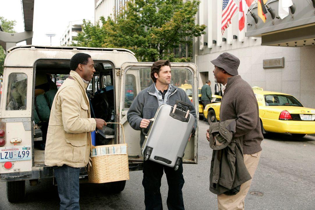 Nachdem Derek (Patrick Dempsey, M.) Burke (Isaiah Washington, l.) zum fischen eingeladen hat, schließen sich auch Alex, George und  Webber (James Pi... - Bildquelle: Touchstone Television