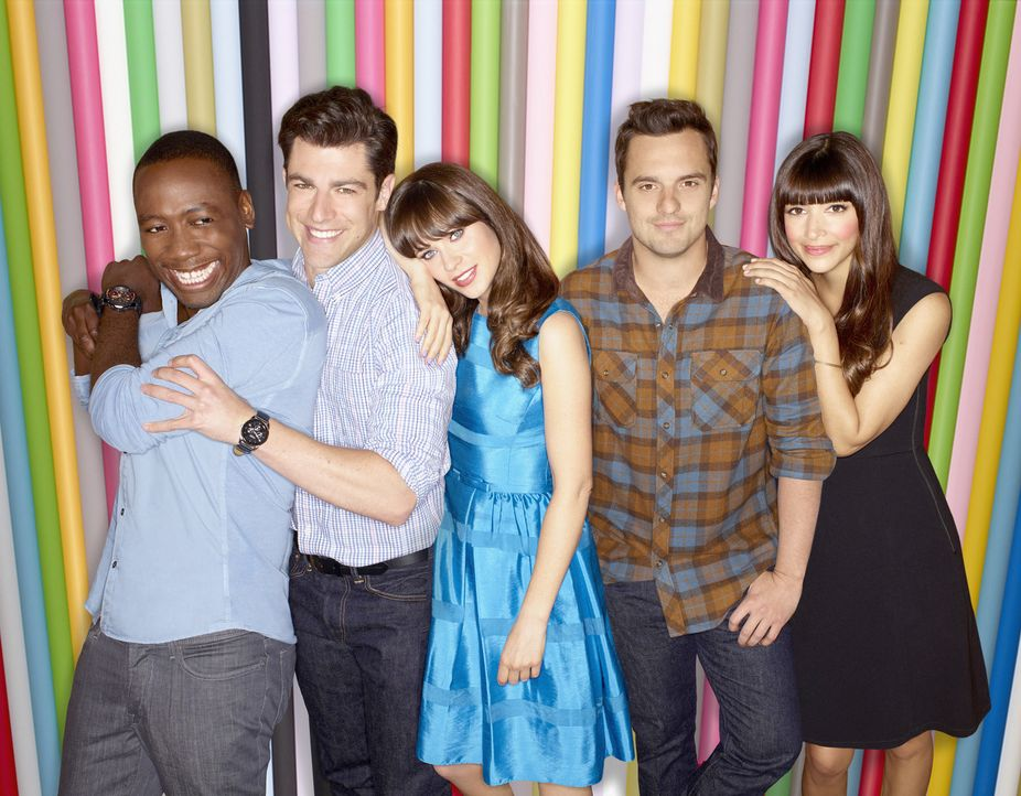 (3. Staffel) - Gute Freunde: Winston (Lamorne Morris, l.), Nick (Jake Johnson, 2.v.r.), Jess (Zooey Deschanel, M.), Schmidt (Max Greenfield, 2.v.l.)... - Bildquelle: TM &   2013 Fox and its related entities. All rights reserved.