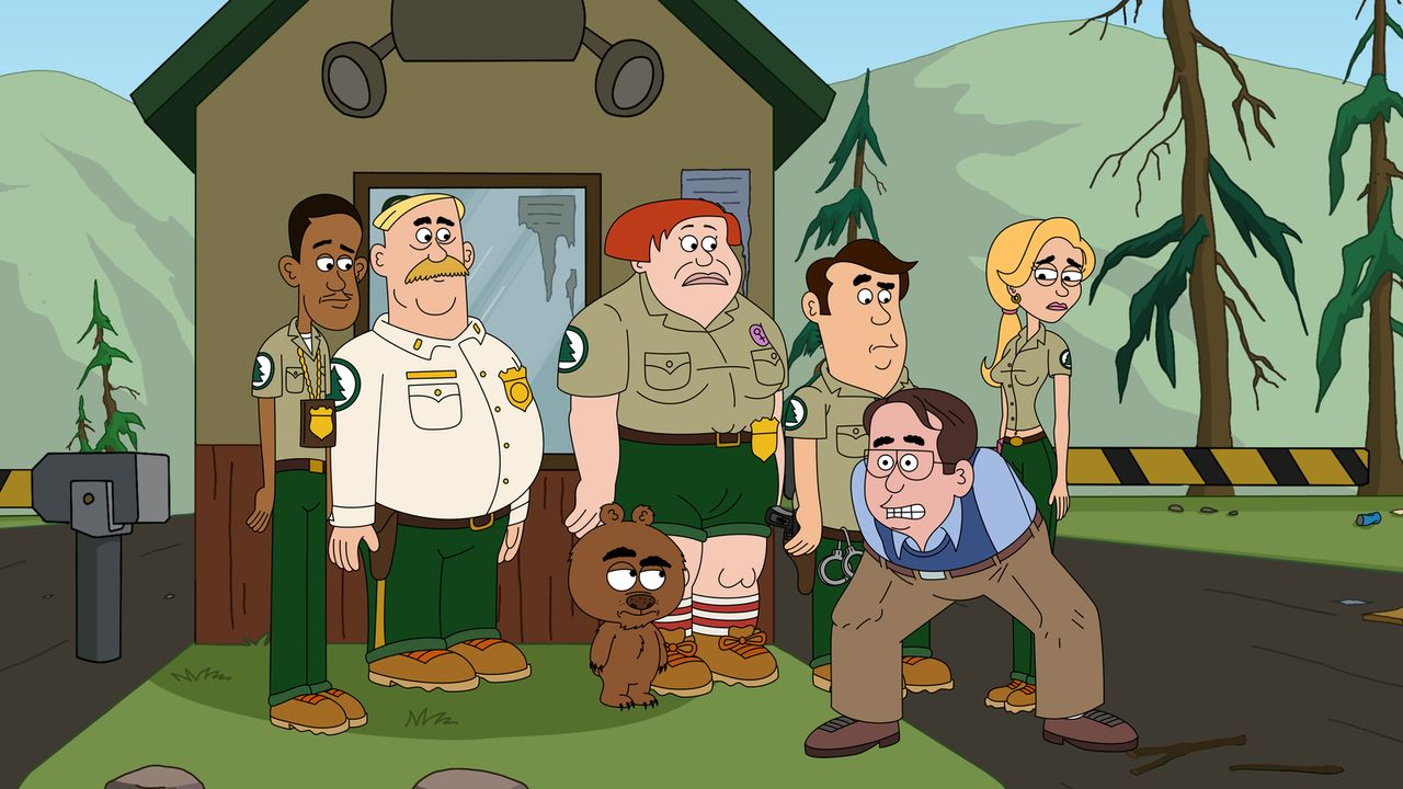 Wird der Preisrichter (2.v.r.) die Ranger Connie (M.), Ethel (r.), Steve (2.v.r.), Woody (2.v.l.), Malloy (3.v.l.) und Denzel (l.) mit dem Bricklebe... - Bildquelle: 2013 Twentieth Century Fox Film Corporation and Comedy Partners. All rights reserved.