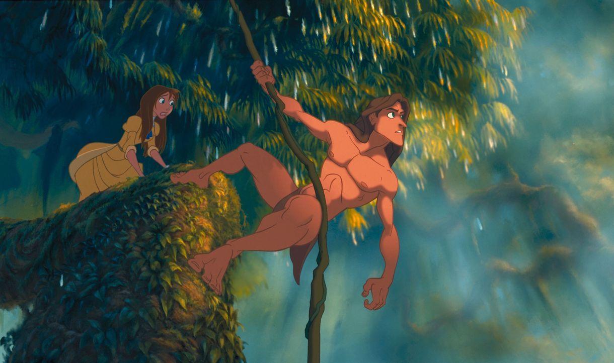 Erst spät erkennen Tarzan, r. und Jane, l., dass Jagdführer Clayton eine ganz intrigantes Spiel mit ihnen spielt ... - Bildquelle: Edgar Rice Burroughs Inc. and Disney