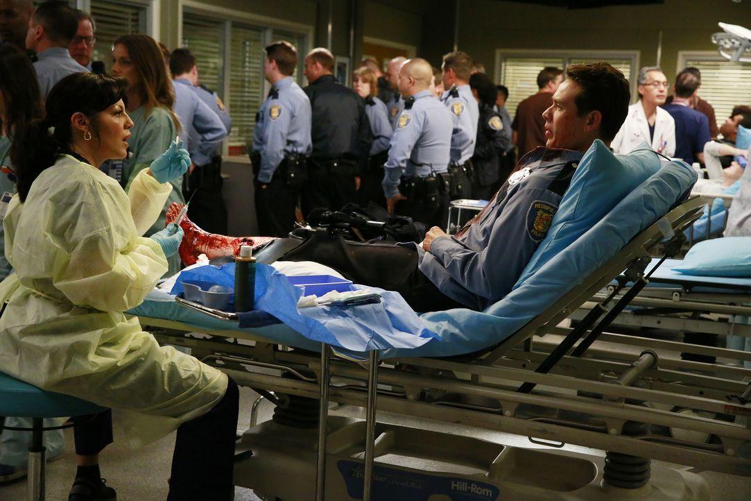 Während sich die Kollegen um Dan (Kevin Alejandro, vorne r.) sorgen, kümmert sich Callie (Sara Ramirez, vorne l.) um dessen Bein. Wird sie es retten... - Bildquelle: ABC Studios