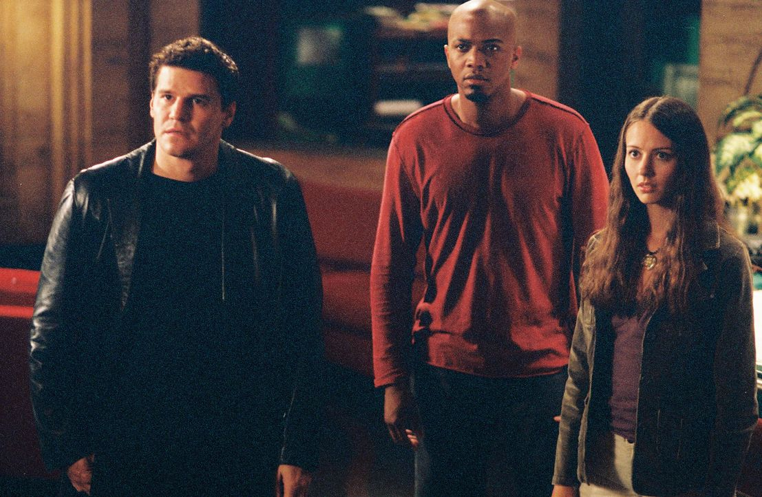 Cordelia ist wieder zurück: Angel (David Boreanaz, l.), Fred (Amy Acker, r.) und Gunn (J. August Richards, M.) sehen sie etwas verwundert an … - Bildquelle: The WB Television Network