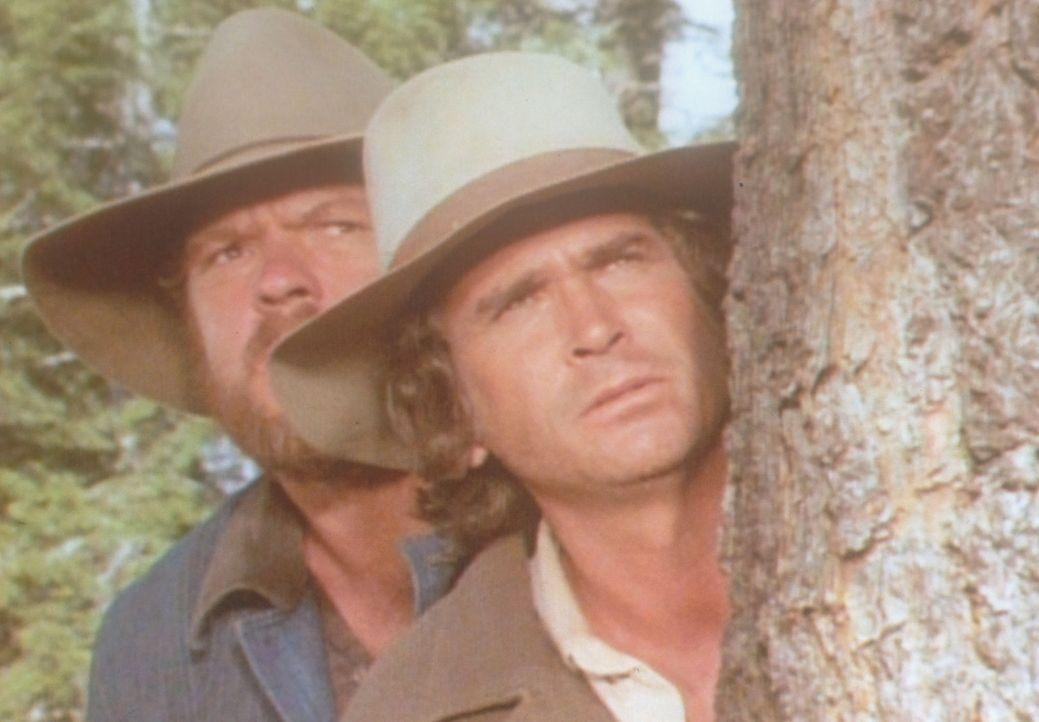Charles (Michael Landon, r.) und Jonathan (Merlin Olsen, l.) haben große Mühe, sich in der Wildnis etwas Essbares zu beschaffen ... - Bildquelle: Worldvision