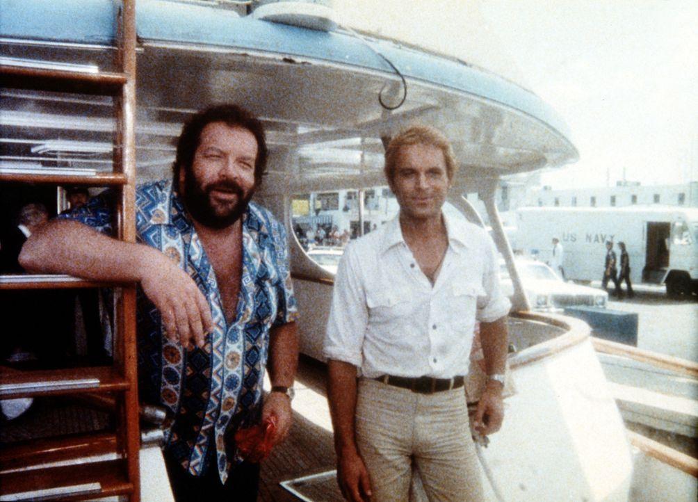 Charlie (Bud Spencer, l.) und sein Halbbruder Johnny (Terence Hill, r.), der über ein fotographisches Gedächtnis verfügt, erhalten von Admiral O'... - Bildquelle: Columbia Pictures